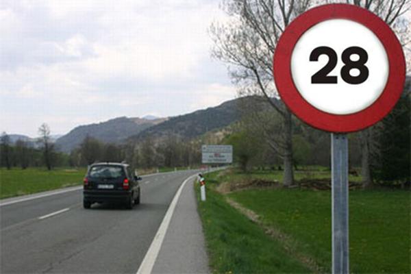 Señal de velocidad 28km